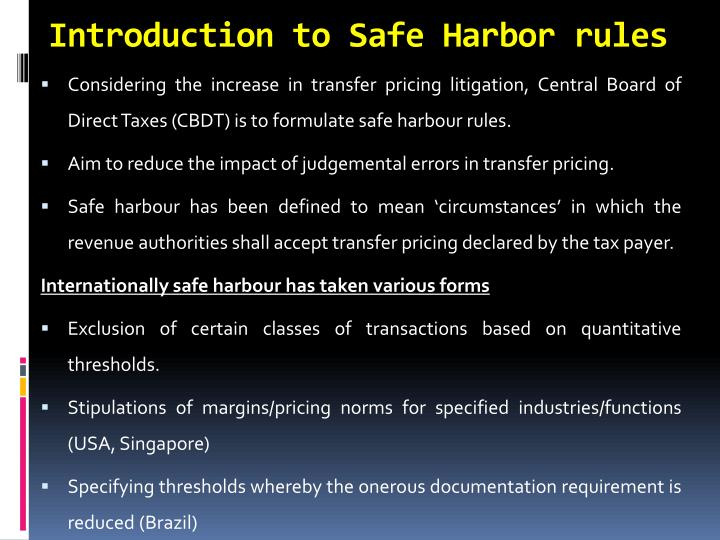 Introduction to Safe Harbor rules