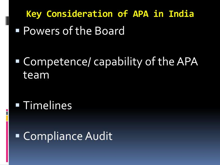 Key Consideration of APA in India