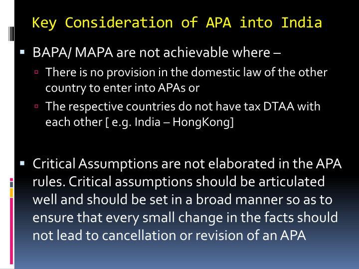 Key Consideration of APA into India