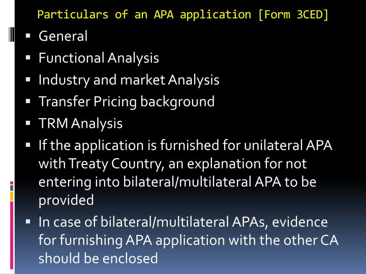 Particulars of an APA application [Form 3CED]