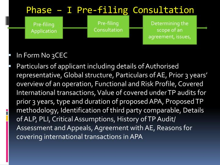 Phase – I Pre-filing Consultation