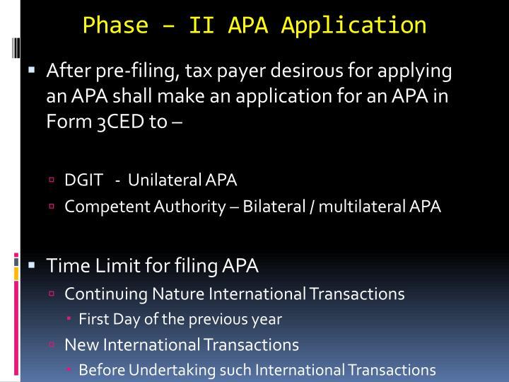 Phase – II APA Application