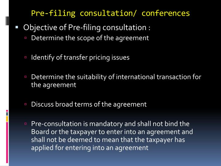 Pre-filing consultation/ conferences