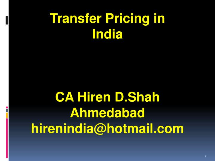Transfer Pricing in