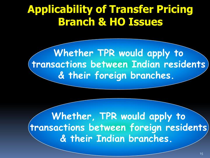 Applicability of Transfer Pricing