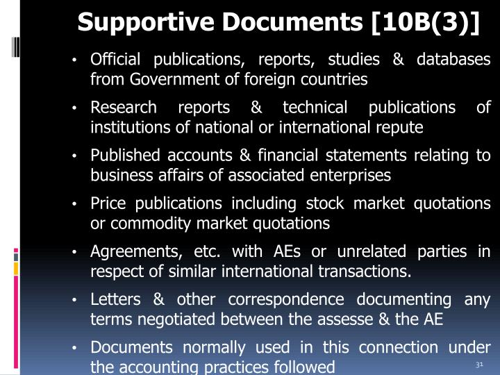 Supportive Documents [10B(3)]