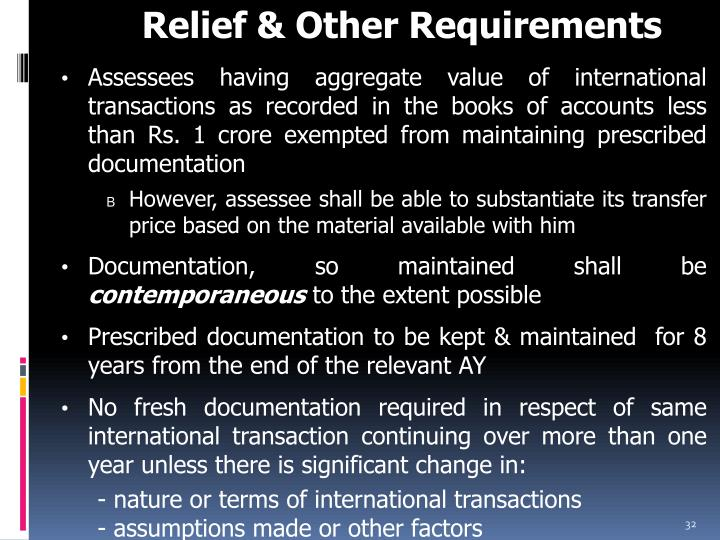 Relief & Other Requirements