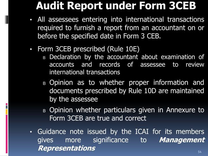 Audit Report under Form 3CEB