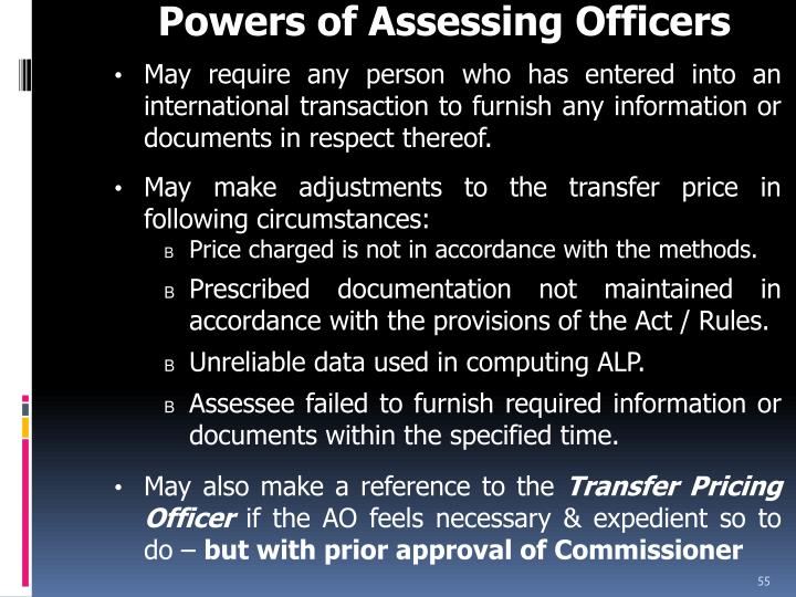 Powers of Assessing Officers