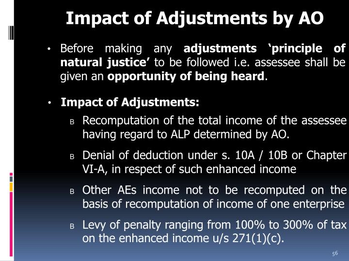 Impact of Adjustments by AO