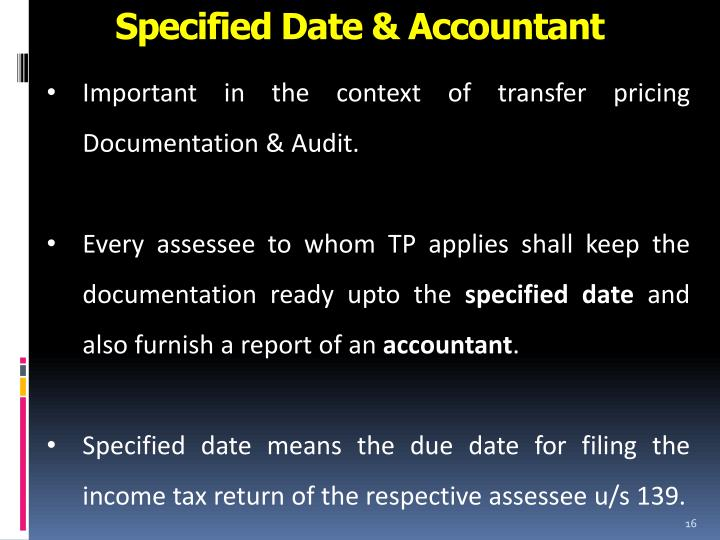 Specified Date & Accountant