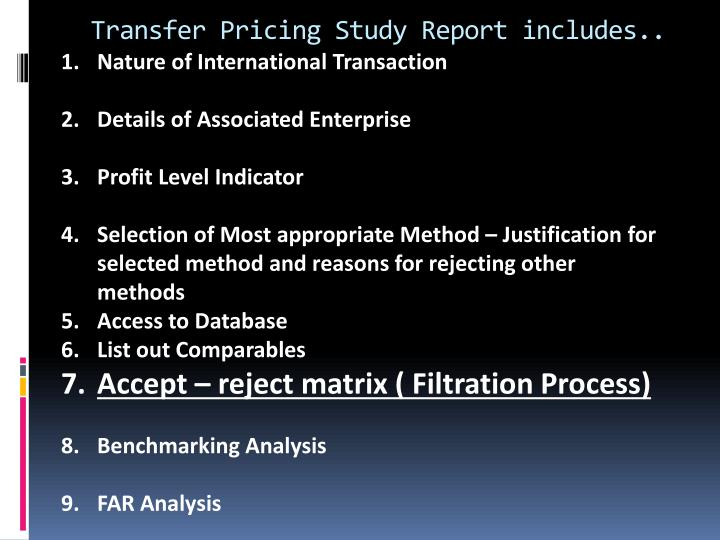 Transfer Pricing Study Report includes..