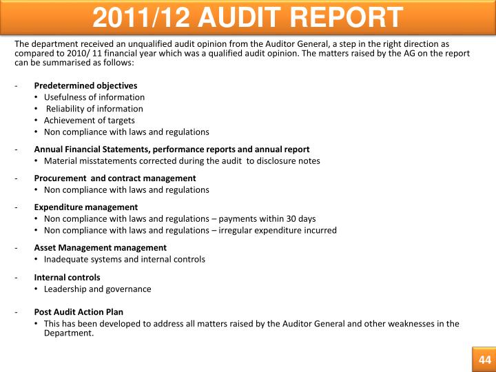 2011/12 AUDIT REPORT