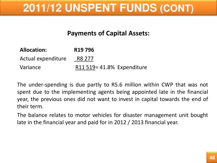 2011/12 UNSPENT FUNDS