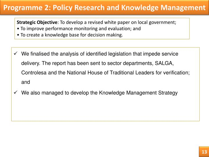 Programme 2: Policy Research and Knowledge Management