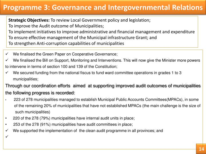 Programme 3: Governance and Intergovernmental Relations