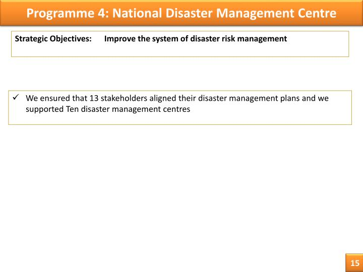 Programme 4: National Disaster Management Centre