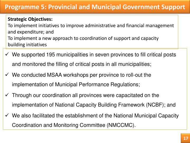 Programme 5: Provincial and Municipal Government Support