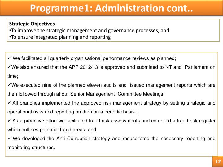 Programme1: Administration cont..