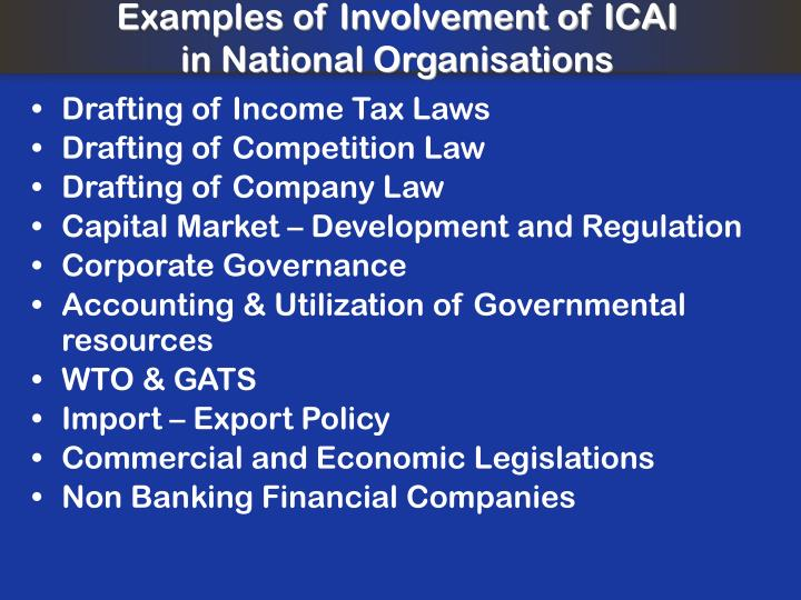 Examples of Involvement of ICAI