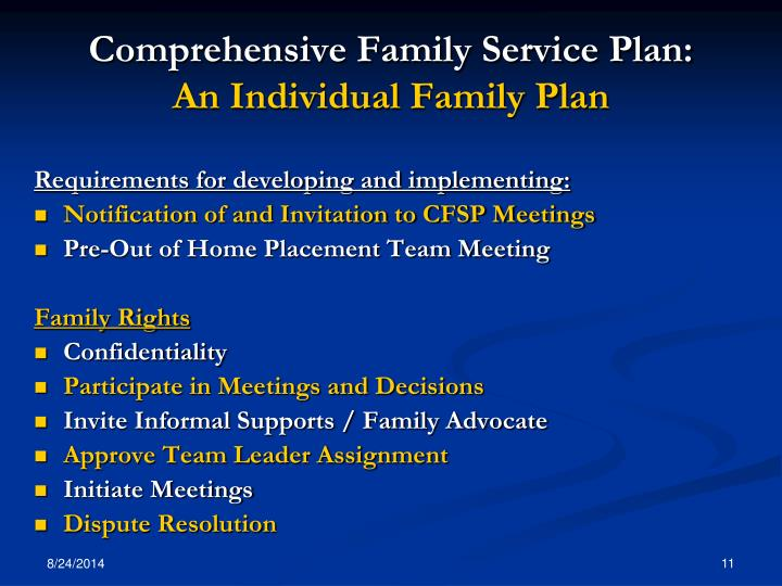 Comprehensive Family Service Plan: