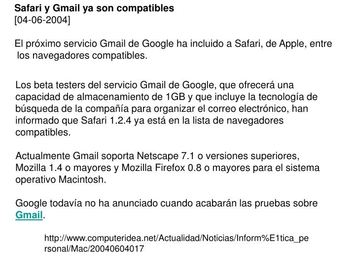Safari y Gmail ya son compatibles