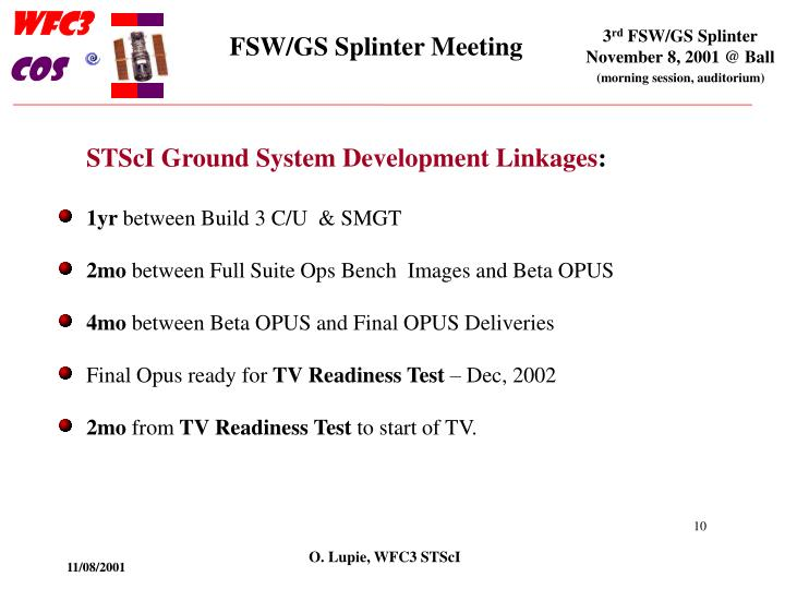 STScI Ground System Development Linkages