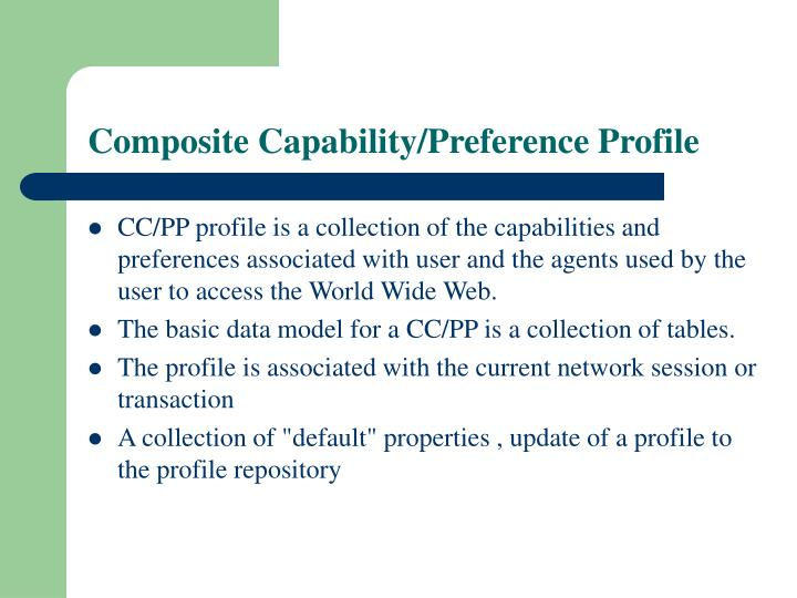 Composite Capability/Preference Profile