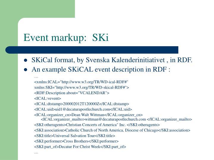 Event markup:  SKi