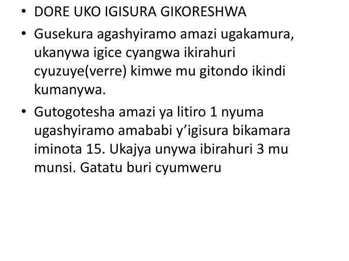 DORE UKO IGISURA GIKORESHWA