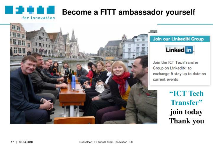 Become a FITT ambassador yourself