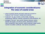 integration of economic consideratiuons the value of coastal areas