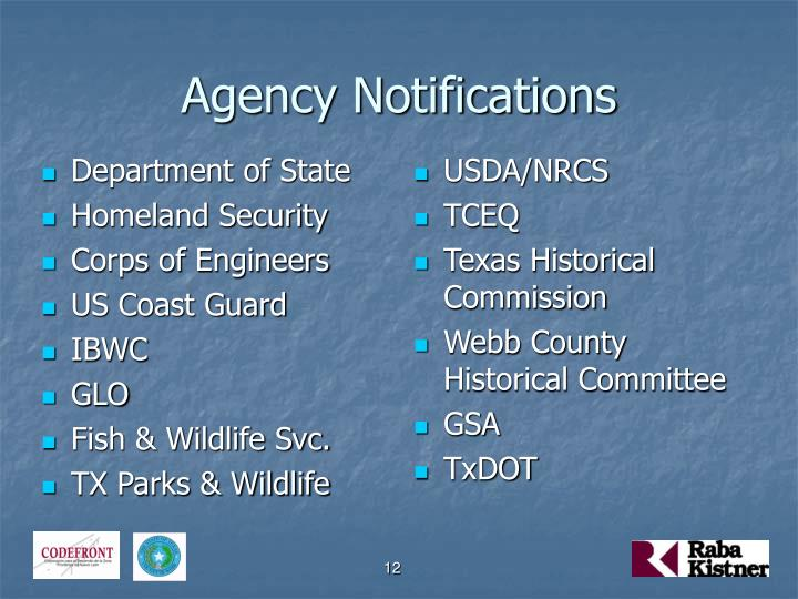 Agency Notifications