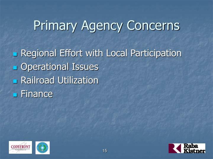 Primary Agency Concerns