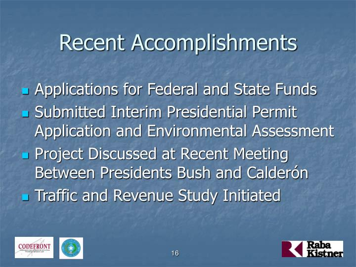 Recent Accomplishments