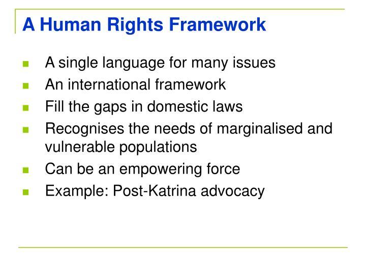 A Human Rights Framework