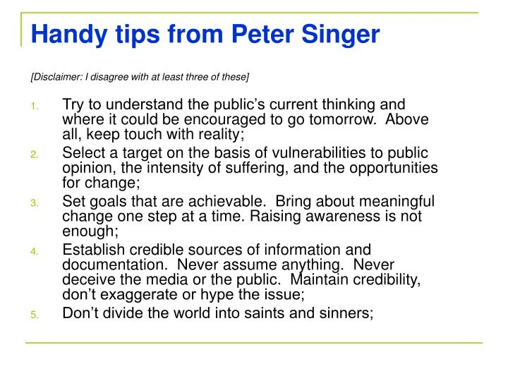 Handy tips from Peter Singer