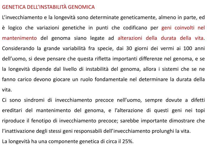 GENETICA DELLINSTABILIT GENOMICA