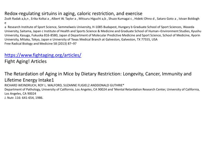 Redox-regulating sirtuins in aging, caloric restriction, and exercise