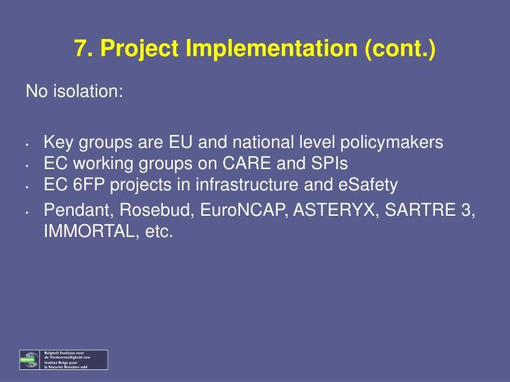 7. Project Implementation (cont.)