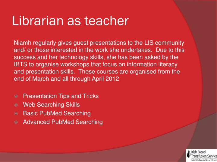 Librarian as teacher