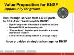 value proposition for bnsf opportunity for growth