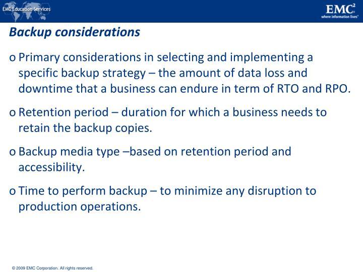Backup considerations