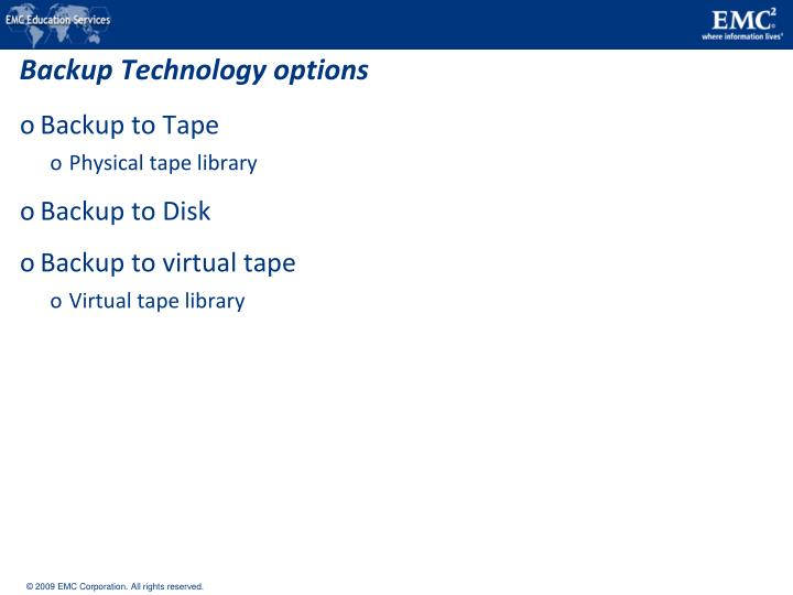 Backup Technology options