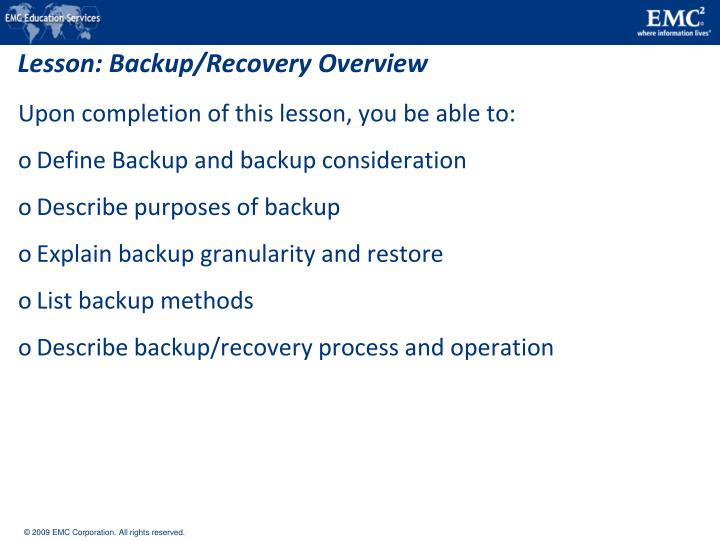 Lesson backup recovery overview