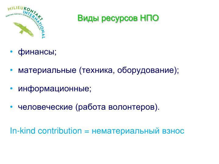 Виды ресурсов НПО