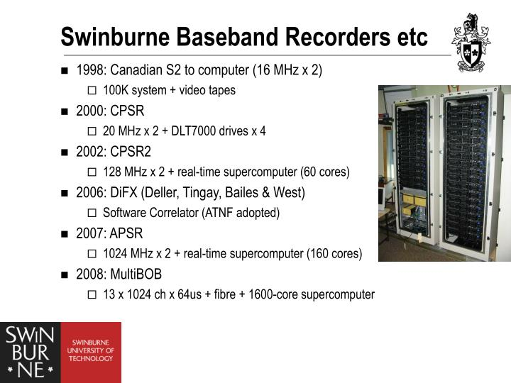 Swinburne Baseband Recorders etc