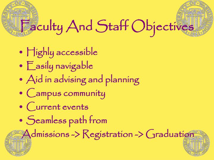 Faculty And Staff Objectives