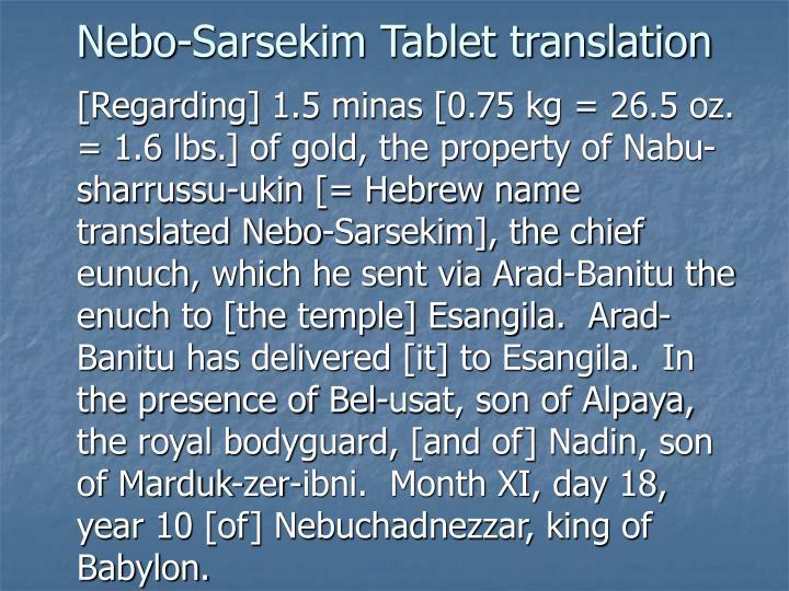 Nebo-Sarsekim Tablet translation
