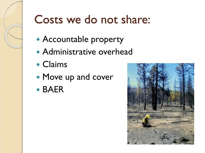 Costs we do not share: